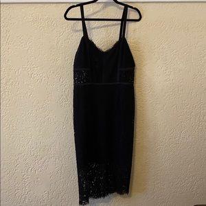 EXPRESS Black Lace Tea Length Dress